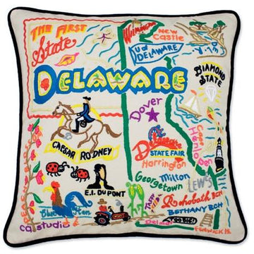 Delaware Hand Embroidered Catstudio State Pillow