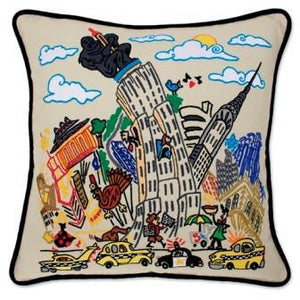 Hand Embroidered CatStudio Empire State Building Pillow-Pillow-CatStudio-Top Notch Gift Shop