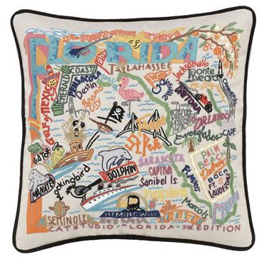 Florida Embroidered Catstudio State Pillow-Pillow-CatStudio-Top Notch Gift Shop
