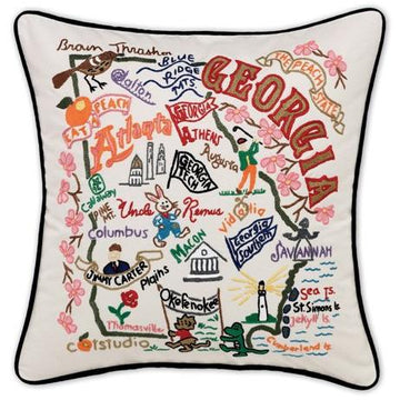 Georgia Embroidered Catstudio State Pillow