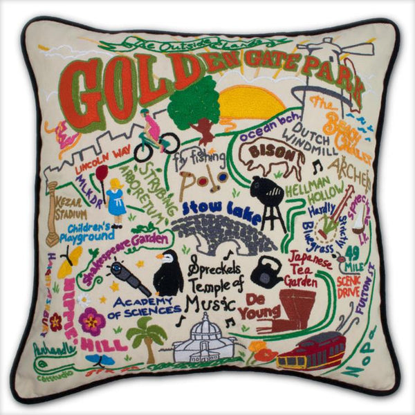 Golden Gate Park Hand Embroidered Catstudio Pillow-Pillow-CatStudio-Top Notch Gift Shop