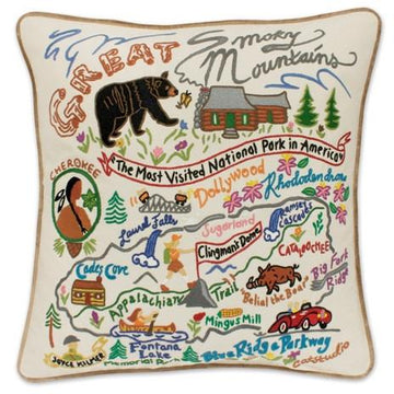 Great Smoky Mountains Embroidered Catstudio Pillow