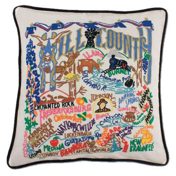 Hill Country Hand Embroidered Catstudio Pillow