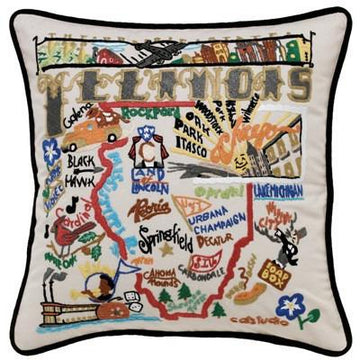 Illinois Embroidered Catstudio State Pillow