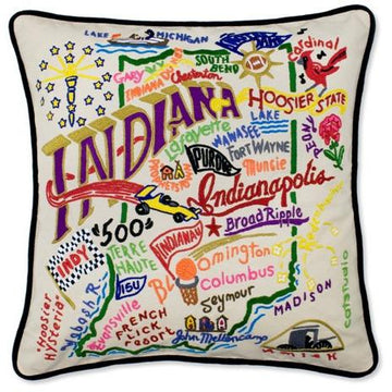 Indiana Embroidered Catstudio State Pillow