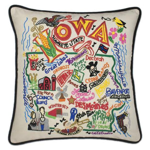 Iowa Embroidered Catstudio State Pillow-Pillow-CatStudio-Top Notch Gift Shop