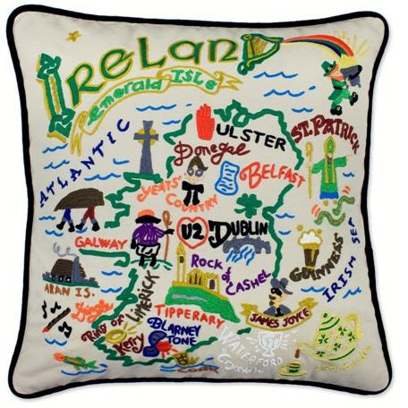 Ireland Hand Embroidered Catstudio Pillow-Pillow-CatStudio-Top Notch Gift Shop