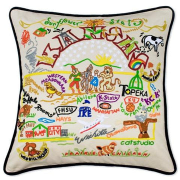 Kansas Embroidered Catstudio State Pillow
