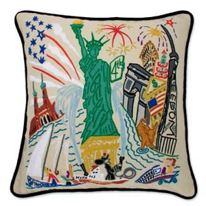 Hand Embroidered CatStudio Lady Liberty Pillow-Pillow-CatStudio-Top Notch Gift Shop