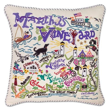 Martha's Vineyard  Embroidered Catstudio Pillow