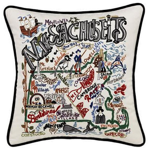 Massachusetts Embroidered Catstudio State Pillow-Pillow-CatStudio-Top Notch Gift Shop