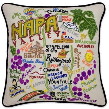 Napa Valley Embroidered Catstudio Pillow