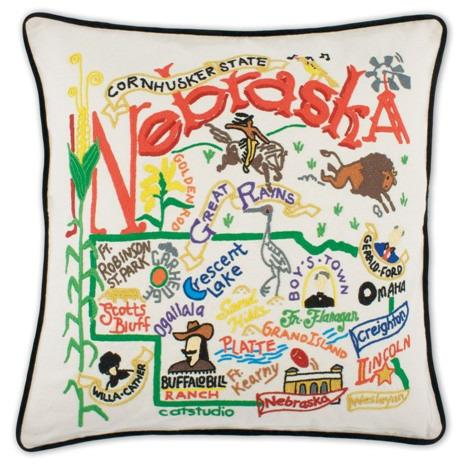Nebraska Embroidered Catstudio State Pillow-Pillow-CatStudio-Top Notch Gift Shop