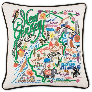 New Jersey Embroidered Catstudio State Pillow