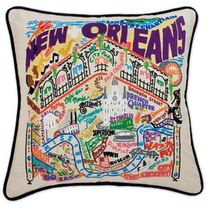 New Orleans Embroidered CatStudio Pillow-Pillow-CatStudio-Top Notch Gift Shop