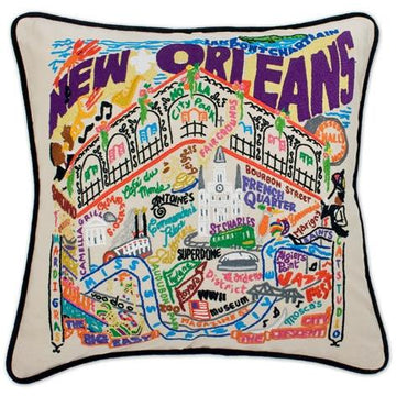 New Orleans Embroidered Catstudio Pillow