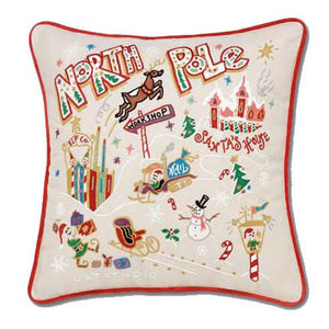 North Pole Embroidered CatStudio Pillow - XL Size-Pillow-CatStudio-Top Notch Gift Shop