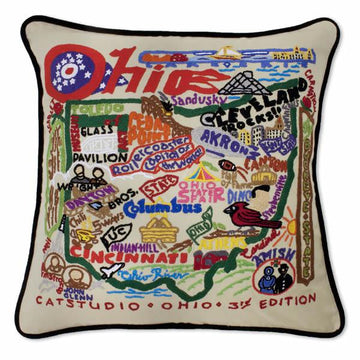 Ohio Embroidered Catstudio State Pillow