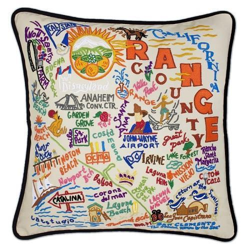 Orange County Hand Embroidered Catstudio Pillow-Pillow-CatStudio-Top Notch Gift Shop
