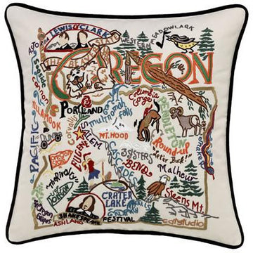 Oregon Embroidered Catstudio State Pillow