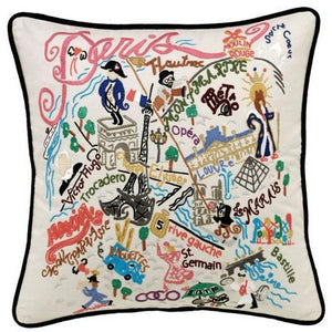 Paris Embroidered Catstudio Pillow-Pillow-CatStudio-Top Notch Gift Shop