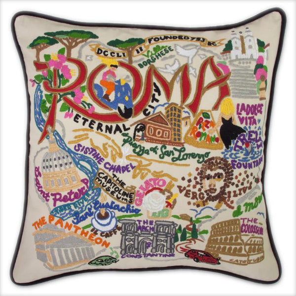 Rome Embroidered Catstudio Pillow-Pillow-CatStudio-Top Notch Gift Shop