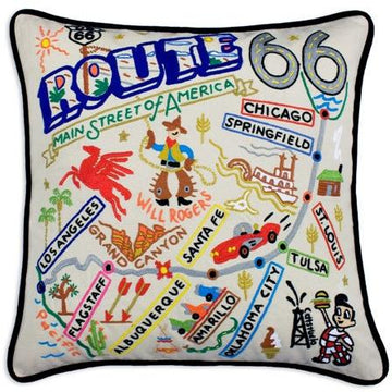 Route 66 Embroidered Catstudio Pillow