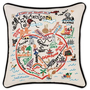 San Francisco Embroidered CatStudio Pillow-Pillow-CatStudio-Top Notch Gift Shop