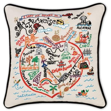 San Francisco Embroidered Catstudio Pillow