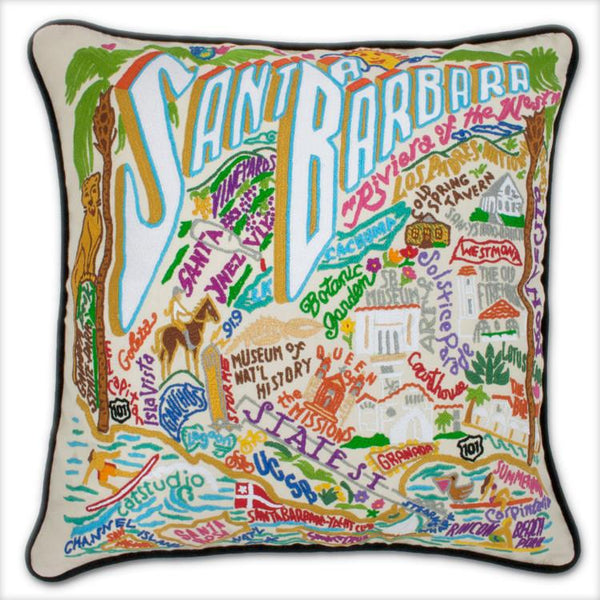 Santa Barbara Embroidered Catstudio Pillow-Pillow-CatStudio-Top Notch Gift Shop