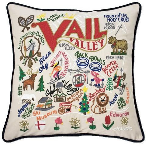 Ski Vail Embroidered Catstudio Pillow-Pillow-CatStudio-Top Notch Gift Shop