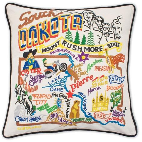 South Dakota Embroidered Catstudio State Pillow-Pillow-CatStudio-Top Notch Gift Shop