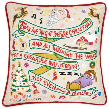 T'was the Night Before Christmas Embroidered Catstudio Pillow