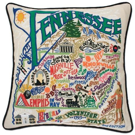 Tennessee Embroidered Catstudio State Pillow-Pillow-CatStudio-Top Notch Gift Shop