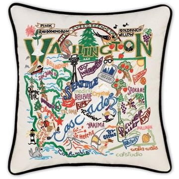 Washington Embroidered Catstudio State Pillow
