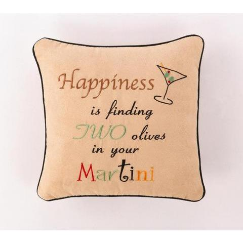 Happiness is...Olives Pillow-Pillow-Peking Handicraft-Top Notch Gift Shop