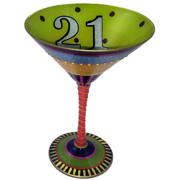 Happy 21st Birthday Hand Painted Martini Glass-Martini Glass-Reverz-Art-Top Notch Gift Shop