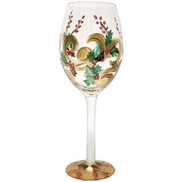Holiday Berry White Wine Christmas Glass
