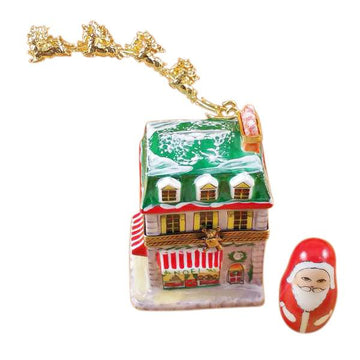 House With Santa And Brass Reindeer Limoges Box by Rochard™