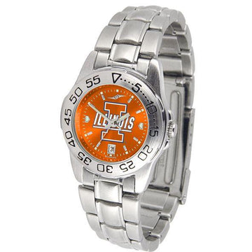 Illinois Fighting Illini Ladies AnoChrome  Steel Band Sports Watch