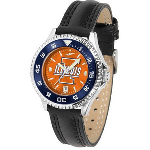 Illinois Fighting Illini Ladies Competitor Ano Poly/Leather Band Watch w/ Colored Bezel-Watch-Suntime-Top Notch Gift Shop