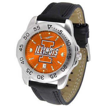 Illinois Fighting Illini Mens AnoChrome Leather Band Sports Watch