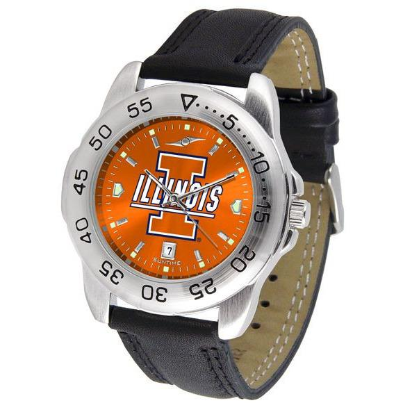 Illinois Fighting Illini Mens AnoChrome Leather Band Sports Watch-Watch-Suntime-Top Notch Gift Shop