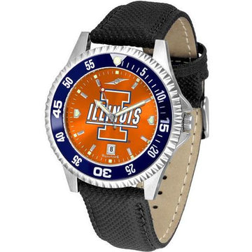 Illinois Fighting Illini Mens Competitor Ano Poly/Leather Band Watch w/ Colored Bezel
