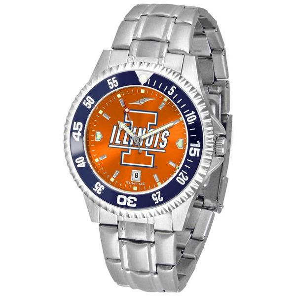 Illinois Fighting Illini Mens Competitor AnoChrome Steel Band Watch w/ Colored Bezel-Watch-Suntime-Top Notch Gift Shop