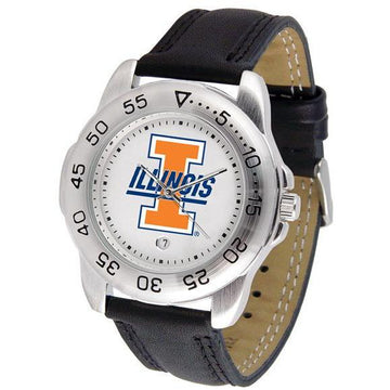 Illinois Fighting Illini Mens Leather Band Sports Watch