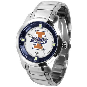 Illinois Fighting Illini Men's Titan Stainless Steel Band Watch-Watch-Suntime-Top Notch Gift Shop