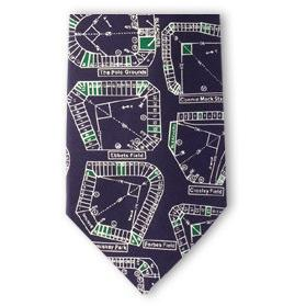 Demolished Baseball Stadiums Silk Necktie-Necktie-Josh Bach Limited-Top Notch Gift Shop