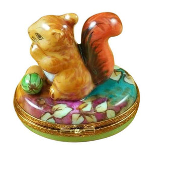 Squirrel In Field With Acorn Limoges Box by Rochard™