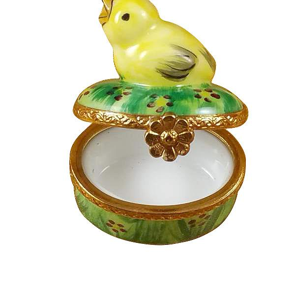 Small Chick On Green Base Limoges Box by Rochard™-Limoges Box-Rochard-Top Notch Gift Shop